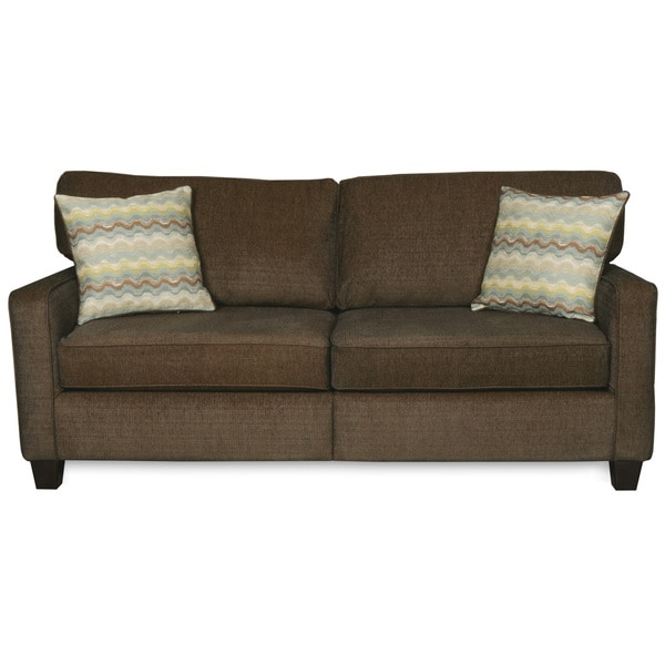 Elegant Sofab Macy Quartz Chenille Sofa With Two Toss Pillows