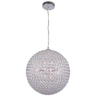 8 Light Round Chorme Pendant with Clear European Crystals