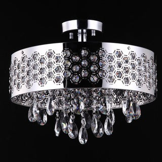 3 Light Shaded Chrome Semi Flush with Clear European Crystals