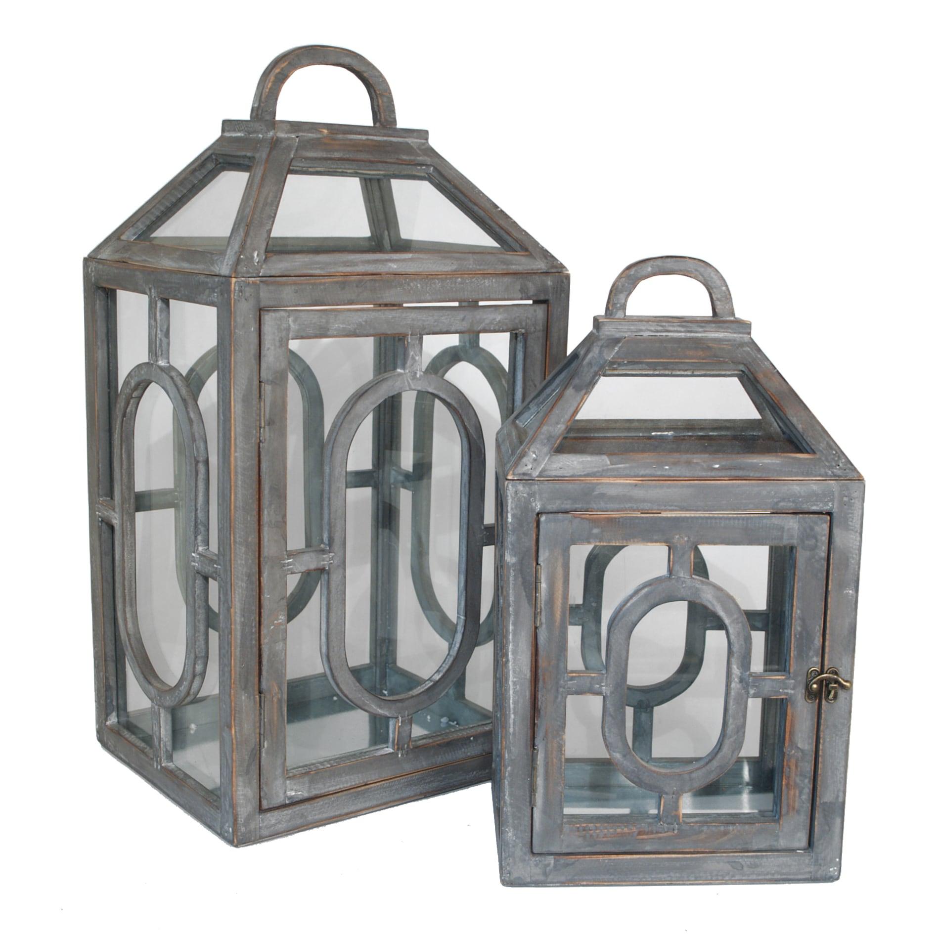 Wood Glass Terrarium Set Of 2 Overstock 10014411