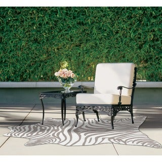 Grey Zebra Print Polyacrylic Rug (5' x 8')