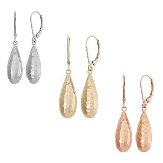 Gioelli 10k Gold Hammered Leverback Teardrop Dangle Earrings