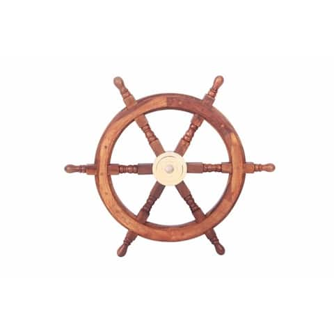 """24"""" Teak Wood Ship Wheel with Brass Inset and Six Spokes, Brown and Gold"""