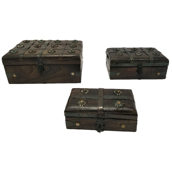 Nested Wooden Pirate Chest With Traditional Metal Locks, Set of 3, Brown - Brown/Black