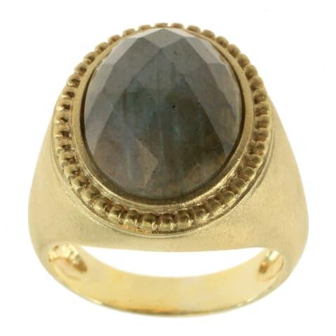 Gems en Vogue Sterling Vermeil Satin Finish Labradorite Ring