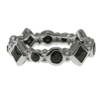 Michael Valitutti Sterling Silver Black Spinel Stacking Ring