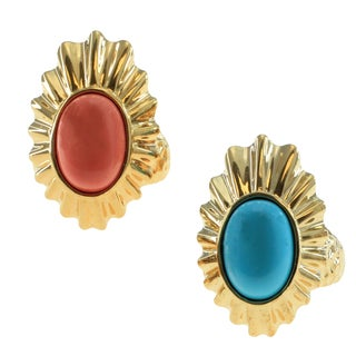 Michael Valitutti Gold Over silver Salmon Coral Or Mexican Turquoise Ring