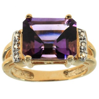 Michael Valitutti 14k Yellow Gold Amethyst Ring