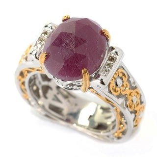 Michael Valitutti Rose Cut Ruby And Diamond Ring