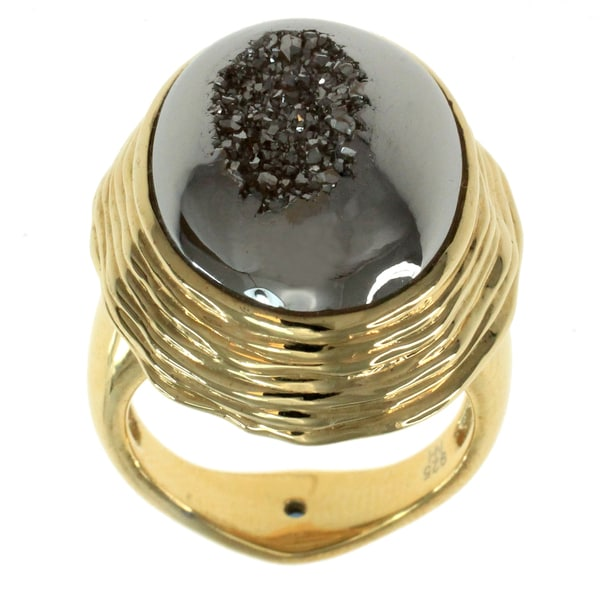 Michael Valitutti Gold Over Silver Druzy Ring With Blue Sapphire Accent