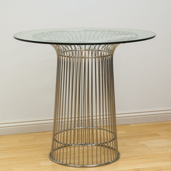 Mod Made Glass and Chromed Steel Wire Nat Table - Silver