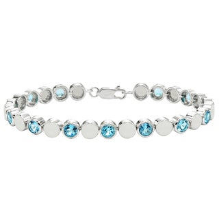 Sterling Silver Swiss Blue Topaz Beaded Bezel Bracelet