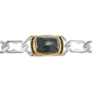 Michael Valitutti Palladium Silver Hematite and Black Spinel Men's Bracelet