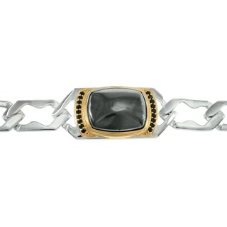 Michael Valitutti Palladium Silver Hematite and Black Spinel Men's Bracelet (2 options available)
