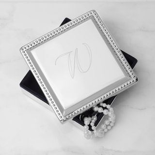 Personalized Silver Square Jewelry Box