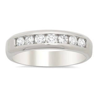 14k White Gold Men's 3/4 ct TDW Diamond Wedding Ring (F-G,VS1-VS2)