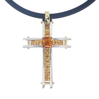 Michael Valitutti Palladium Silver Madeira Citrine Cross Necklace
