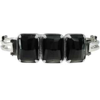 Michael Valitutti Palladium Silver Black Agate Men's Bracelet