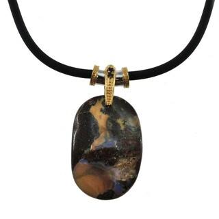 Michael Valitutti Palladium Silver Boulder Opal and Sapphire Pendant