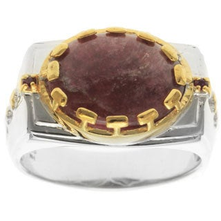 Michael Valitutti Palladium Silver Tourmaline and Ruby Men's Ring