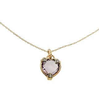 Michael Valitutti 10k Yellow Gold Rose De France Heart Necklace