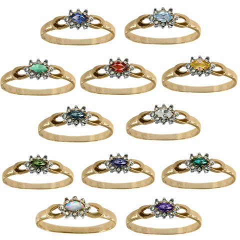 Gems en Vogue 10K Yellow Gold Diamond and Gemstone Ring with Choice of Centre Stone