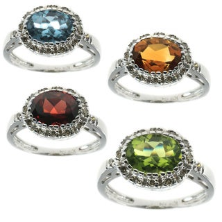 Michael Valitutti 10K White Gold Diamond and Gemstone Ring