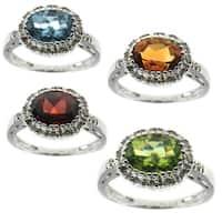 Michael Valitutti 10K White Gold Diamond and Gemstone Ring
