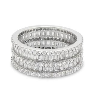 Gioelli Sterling Silver Multi-level Cubic Zirconia Eternity Ring