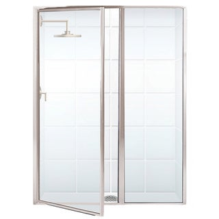 Legend Series 44 x 66 Framed Hinge Swing Shower Door with Inline Panel in Brushed Nickel with Clear Glass