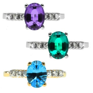 Michael Valitutti Emerald, Amethyst, Aquamarine and Diamond Ring