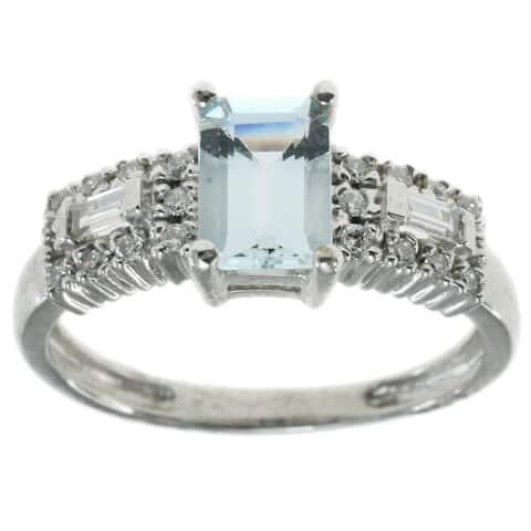 Michael Valitutti 14k White Gold with Aquamarine and Diamonds Ring