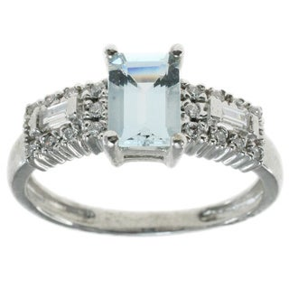 Michael Valitutti 14k White Gold with Aquamarine and Diamonds Ring