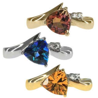 Michael Valitutti 10k Gold Blue Topaz, Citrine and Pink Tourmaline Ring