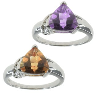 Michael Valitutti 14k Yellow Gold with Amethyst, Citrine and Diamonds Ring