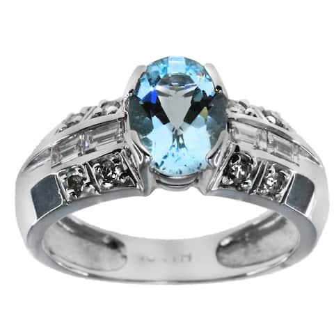 M.V. Jewels 14k White Gold Diamond and Gemstone Ring