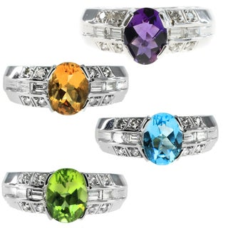 M.V. Jewels 14k White Gold Diamond and Gemstone Ring