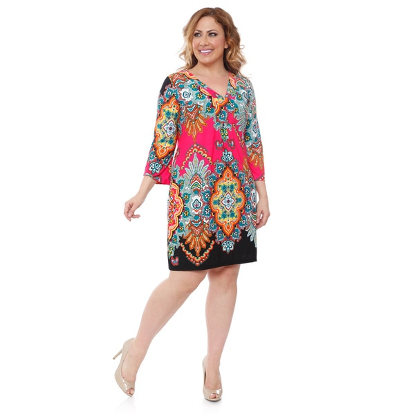White Mark Women's Plus-size 'Madelyn' Fuchsia/ Black Print Dress