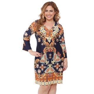 White Mark Women's Plus-size 'Madelyn' Navy/ Gold Print Dress