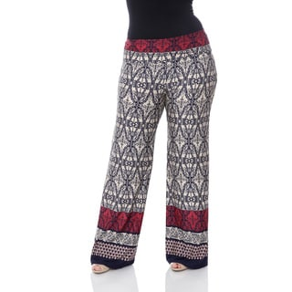 White Mark Women's Plus-size 'Morrocan Print' Palazzo Pants