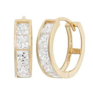 Gioelli 10K Yellow Gold Princess-cut CZ Huggie Hoop Earrings