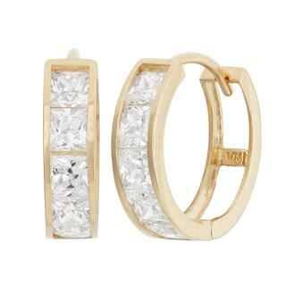 Gioelli 10K Yellow Gold Princess-cut CZ Hoop Earrings