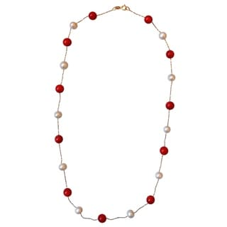 14k Gold Red Coral Freshwater Pearl Necklace (5-6 mm)