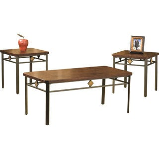 Roman Wood and Metal Table (Set of 3)