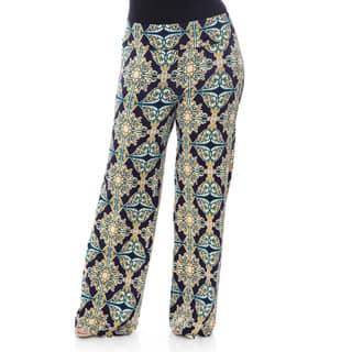 White Mark Women's Plus-size 'Mosaic Style Print' Palazzo Pants https://ak1.ostkcdn.com/images/products/10014630/P17161979.jpg?impolicy=medium