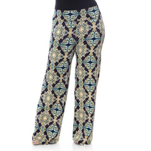 White Mark Women's Plus-size 'Mosaic Style Print' Palazzo Pants