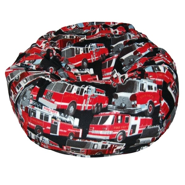 Anti Pill Fire Trucks Fleece Washable Bean Bag Chair