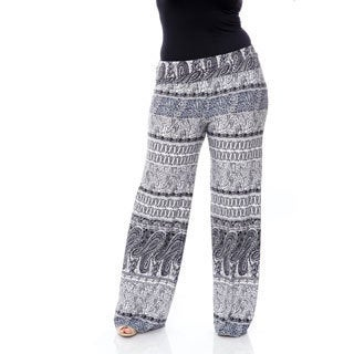 White Mark Women's Plus-size 'Greystone Columns Paisley' Palazzo Pants