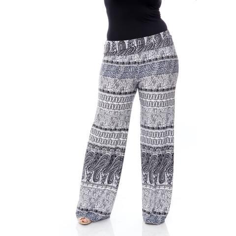 White Mark Women's Plus-size 'Greystone Columns Paisley' Palazzo Pants