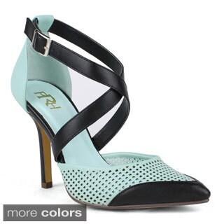 Fahrenheit Women's Ula-01 High Heel pointed-toe Mesh Ankle Strap Fashion Pumps